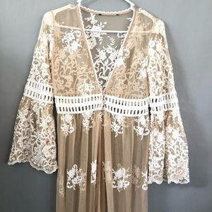Lace duster kimono boho festival swim cover up
